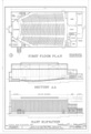 First Floor Plan, Section, and East Elevation - MacDill Air Force Base, Base Theater, 2420 Florida Keys Avenue, Tampa, Hillsborough County, FL HABS FLA,29-TAMP,52Q- (sheet 2 of 2).png