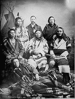 Confederated Salish and Kootenai Tribes of the Flathead Nation - Flathead delegation in Washington, D.C. with interpreter, 1884