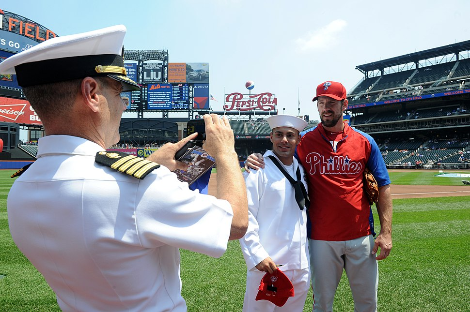 Flickr - Official U.S. Navy Imagery - A Sailor poses with Philadelphia Phillies pitcher, Cliff Lee before the 5th Annual Military Appreciation game at Citi Field during Fleet Week New York 2012.