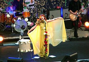 Florence Welch - Welch singing at the Berkeley Greek Theater on the Lungs Tour 2011.