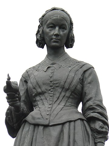 Florence Nightingale statue with a Lamp in London