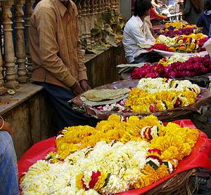 Cut flowers - Garland sellers outside Banke Bihari Temple, Vrindavan, India