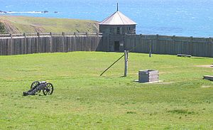 Fort Ross, California - Southwest blockhouse, with the well in the foreground