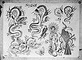 Foto van een Aziatische tekening voor een tatoeage, Bestanddeelnr 254-6147.jpg