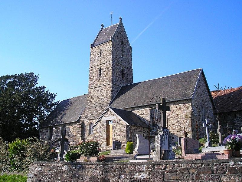 Saint-Jean-des-Champs (Normandie, France). L'église Saint-Léger de l'ancienne commune de Saint-Léger.