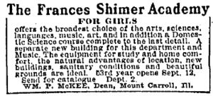 History of Shimer College - Advertisement for the Frances Shimer Academy, printed in the Chicago Daily Tribune in 1906.