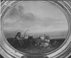 Hirtenknabe mit Herde