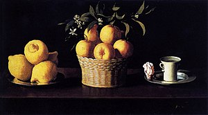 Still Life with Lemons, Oranges and a Rose - Image: Francisco de Zurbarán Still life with Lemons, Oranges and Rose WGA26062