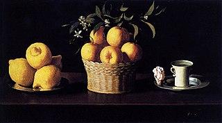 Nature morte avec citrons, oranges et rose