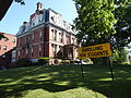 Franco American School; southwest and southeast (front) sides, detail; Lowell, MA; 2012-05-19.JPG