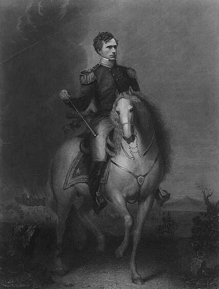 Pierce's brief term as a general in the Mexican-American War boosted his public image. FrankP-mounted.jpg