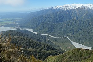 Waiho River - Waiho River flowing out of the Franz Josef Glacier valley