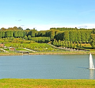 Park of Frederiksborg Castle - The Baroque garden viewed from the castle