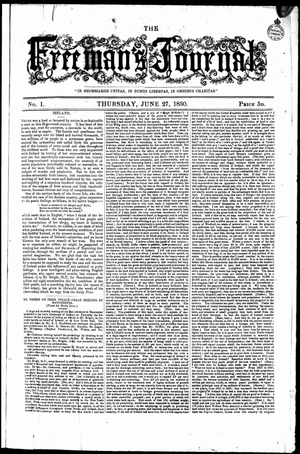 The Catholic Weekly - Front page of The Freeman's Journal newspaper on 27 June 1850.