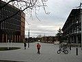 Freiburg, Rathaus im Stühlinger, links der erste Neubau, rechts das alte Technische Rathaus.jpg