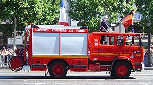 Paris Fire Brigade - Fire engine of the Brigade des sapeurs-pompiers de Paris parading in 2003