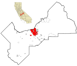 Fresno County California Incorporated and Unincorporated areas Fresno Highlighted.svg