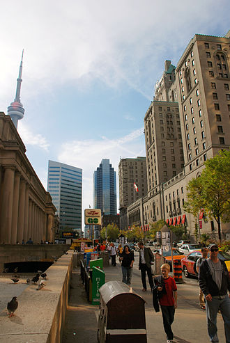 Architecture of Toronto - Downtown Toronto from Front Street, with the CN Tower (left background), Union Station (left foreground), Simcoe Place (centre), and Fairmont Royal York (right) in view. Architecture in Toronto can be described as an eclectic combination of various architectural styles.