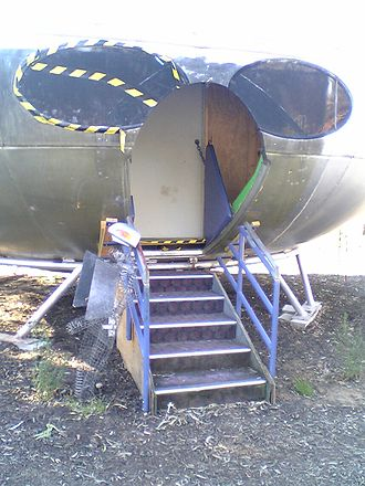 Futuro - Doorway of Futuro House at University of Canberra, undergoing conservation.