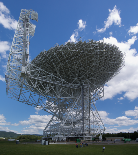 Radio telescope at the Green Bank Observatory in Green Bank, West Virginia, April 2018. Credit: Wikimedia Commons.