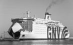 GNV Cristal (ship, 1989), Sète 2018-09-28 BW.jpg