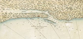 Biloxi, Mississippi - Old Biloxi (site B) and New Biloxi (site A), French map, beginning of 18th century