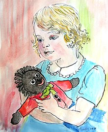 A blond, white girl cuddling a black rag doll.