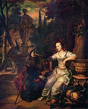 Vertumnus, in the form of an old woman, wooing Pomona, by Gerbrand van den Eeckhout