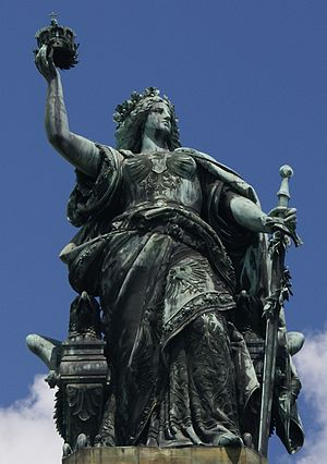 Germania (personification) - Figure of Germania atop the Niederwalddenkmal in the Rhine valley, dedicated 1883