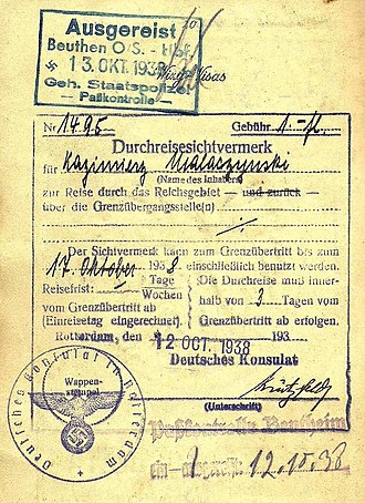 Gestapo - 1938 Gestapo border inspection stamp applied when entering German controlled Silesia.