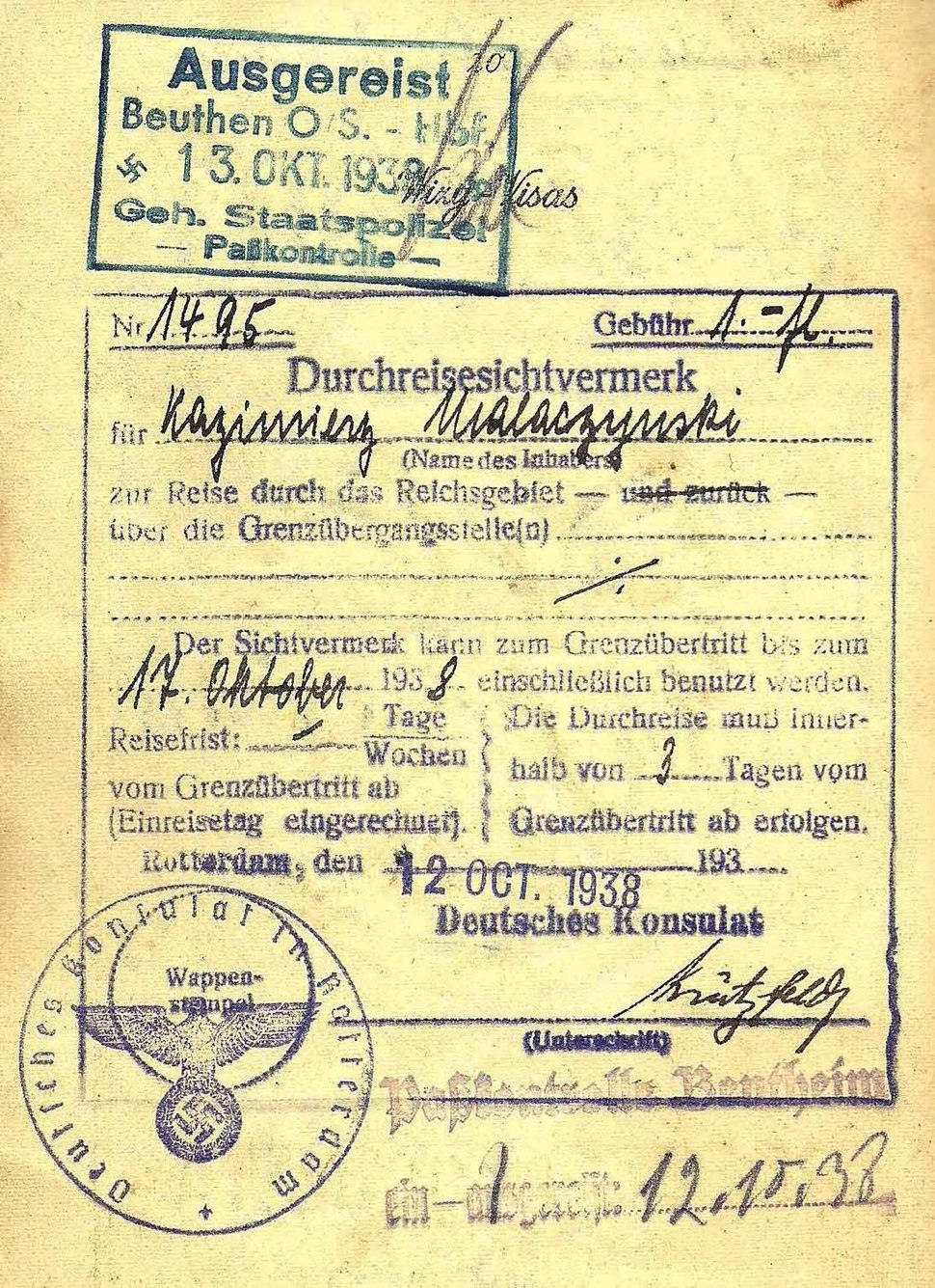 Gestapo border inspection stamp - 1938