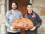 Cornish Pirates players display a giant pasty