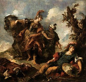 Giovanni Antonio Guardi - Herminia and Vaprino Find the Wounded Tancred, 1750s. A scene from La Gerusalemme liberata by Tasso.