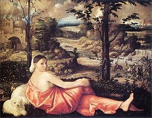 Donna distesa in un paesaggio