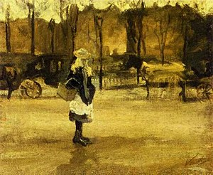 Girl in the Street, Two Coaches in the Background, A.jpg