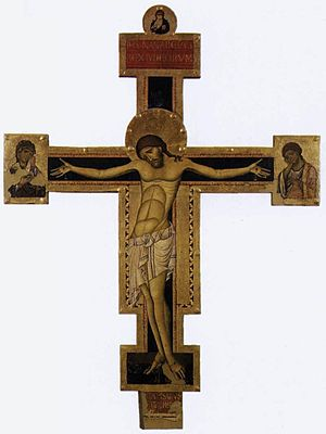 Crucifix (Cimabue, Santa Croce) - Giunta Pisano, Crucifix, tempera on wood, 1240s. Papal Basilica of Saint Mary of the Angels in Assisi