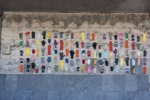 Gloves on a wall