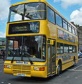 Go North East bus 3812 Volvo Olympian N Counties Palatine II S812 FVK Yellow Bus livery in Newcastle 9 May 2009 1.jpg