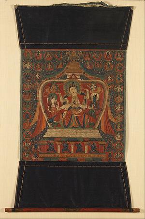 Usnisavijaya - Uṣṇīṣavijayā in a stupa, 15th-century painting, Rubin Museum of Art