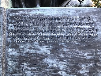 Samuel Gompers Memorial - Image: Gompers inscription SW