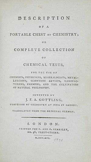 Chemistry set -  Description of a portable chest of chemistry, 1791