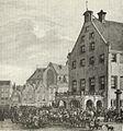Gouda achterzijde stadhuis met schavot door Dirk Johannes van Vreumingen.jpg