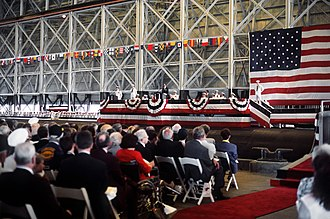 Gaston Caperton - Caperton addresses the guests assembled for the commissioning ceremony of the USS West Virginia (SSBN-736) in 1990