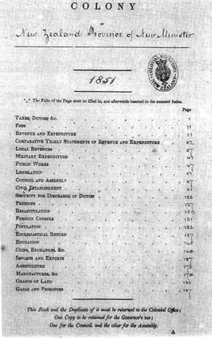 "Statistics New Zealand - In colonial times, there was a ""Blue Book"" of official statistics, compiled by various magistrates. Here's a photo of the table of contents dated 1851 for the southern island, then called ""New Munster"". Source = Statistics New Zealand (National Archives)."