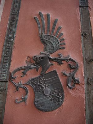 Philipp I, Count of Hanau-Münzenberg - Coat of arms of Adriana von Nassau on her gravestone in the St Mary's Church in Hanau