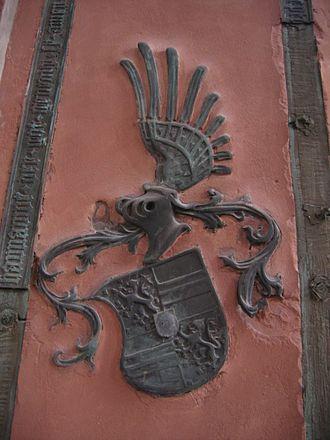 Philipp I, Count of Hanau-Münzenberg - Coat of arms of Adriana von Nassau on her gravestone in the St Mary's Church in Hanau