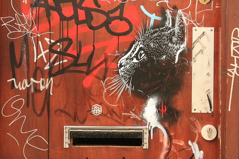 Pochoir de chat par C215 sur Chance Street à Shoreditch.