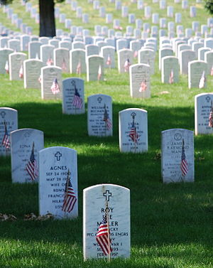 Memorial Day - The gravestones at Arlington National Cemetery are decorated by U.S. flags on Memorial Day weekend in 2008.