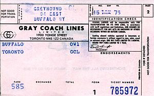 Gray Coach - A ticket from Buffalo to Toronto issued in August 1975