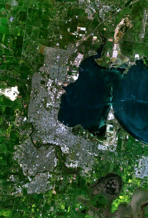 Lara, Victoria - Landsat 7 imagery of the greater Geelong area. Lara is visible in the north.